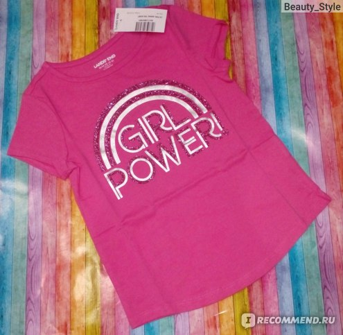 Футболка Lands' End Pink Girl Power Foil Print Tee арт. 449878_II7