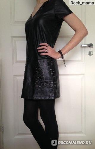 Платье Romwe Black Short Sleeve PU Leather Dress фото