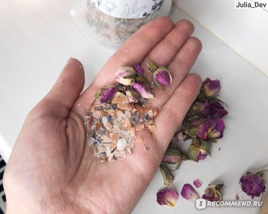 Микс для ванной EPSOM.PRO с цветками лаванды и чайной розы «PINK SUNSET» фото