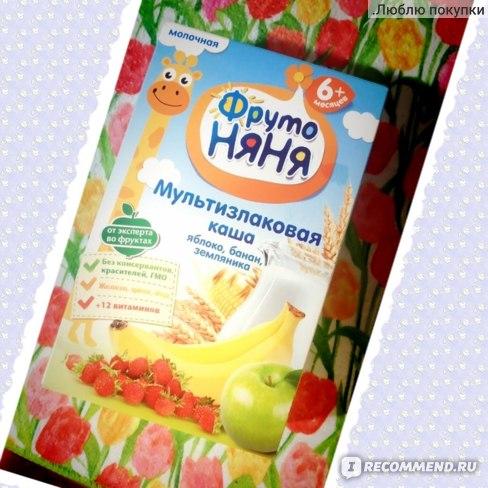 Каша Фруто Няня Мультизлаковая молочная с яблоком, бананом и земляникой фото