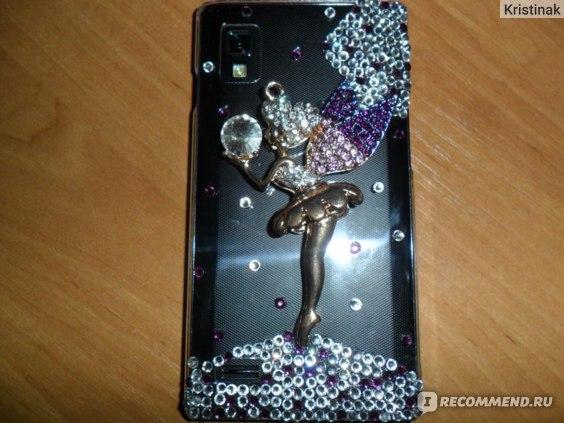 Чехол для мобильного телефона Aliexpress Handmade Purple Angel Wings Girl Diamond Hard Case Cover For LG Optimus L9 P769 фото