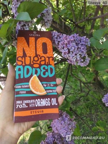 Горький шоколад Озерский сувенир OZera No Sugar Added Dark&Orange, 90г фото