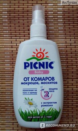 Средство от комаров PICNIC Baby Спрей от комаров, мокрецов, москитов с экстрактом ромашки. фото
