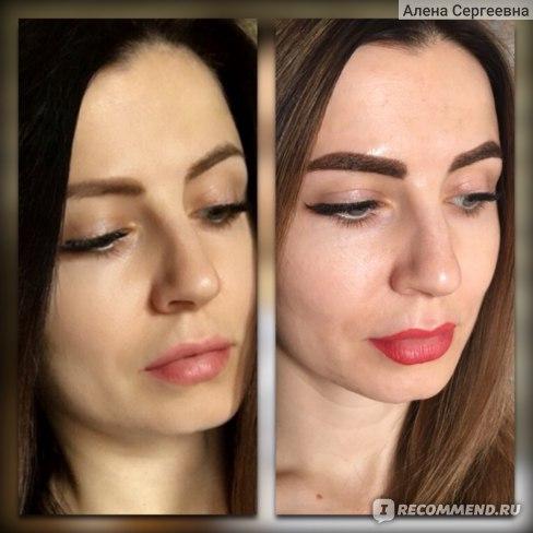 До обновления перманентного макияжа и сразу после (до отхода корочек).