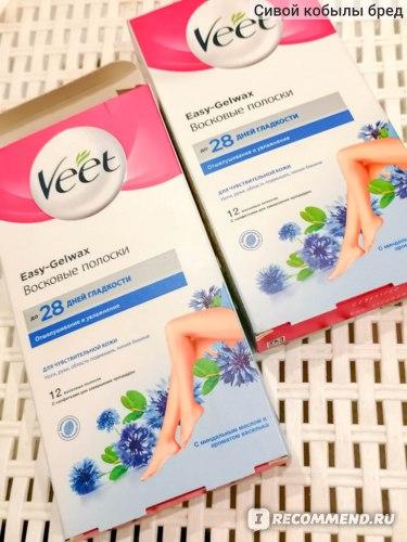 Восковые полоски Veet с миндальным маслом и ароматом василька фото