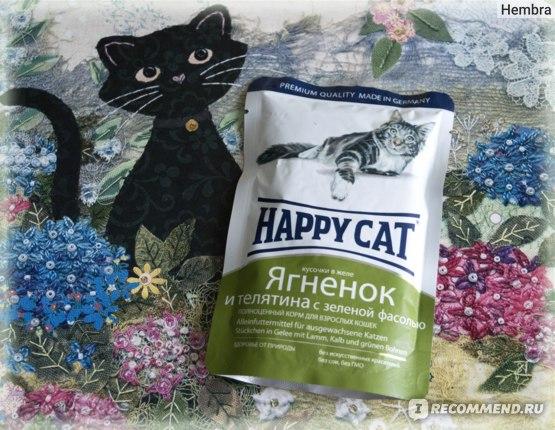 Корм для кошек Happy Cat кусочки в желе Ягненок и телятина с зелёной фасолью отзывы