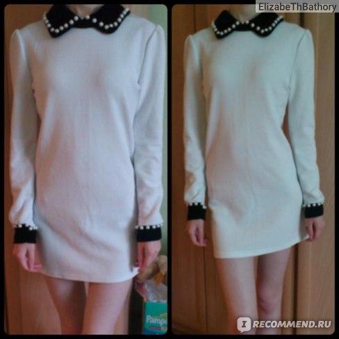 Платье-туника AliExpress Fashion velvet pearl collar Puff ultra temperament long-sleeved dress фото