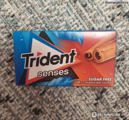 Жевательная резинка Trident senses (Тридент Сенсис) без сахара. Вкус корицы и мяты