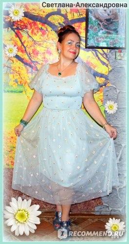 Платье летнее AliExpress Small daisies embroidery mesh dresses women 2021 sexy off the shoulder french vintage party ruffle dresses elegant vestidos АРТИКУЛ: LM2458  фото