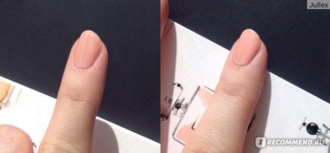 Слева лак нанесен в один слой, справа - в два.