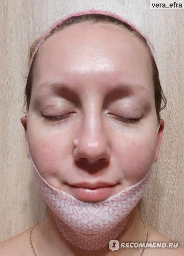 """Гидрогелевая маска для шеи и подбородка Lamucha """"V - Up Mask"""" Комплексный уход c поддерживающим тканевым слоем, детокс эссенция с золотом фото"""
