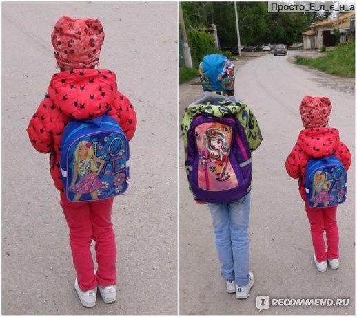 Для сравнения- на фото 9-ти летняя девочка с обычным рюкзаком и пятилетняя - с рюкзачком Барби.
