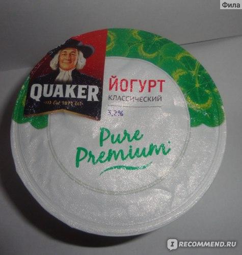 """Кисломолочные продукты Quaker Йогурт """"Pure Premium"""" Классический, 3,2% 180 г фото"""