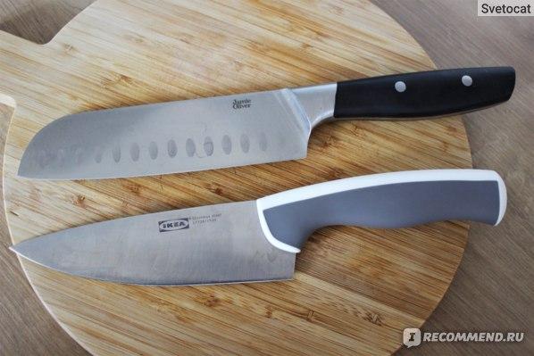 Поварской нож IKEA ЭНДЛИГ в сравнении с ножом сантоку Jamie Oliver