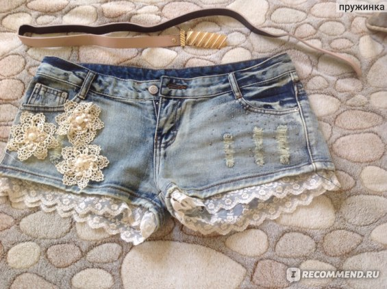 Шорты AliExpress New Denim Short Jeans Nail Bead Shorts Lace Ruffles With Belt Floral Short Pants For Women E0017 фото