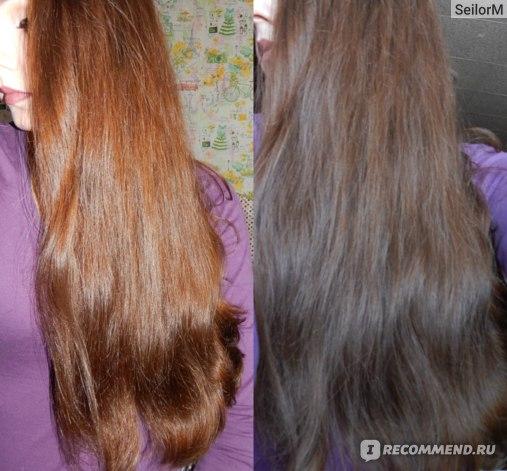 Фото волос при вспышке и при дневном свете.