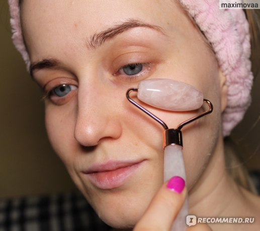 Роллер-массажер для лица Aliexpress Massager For Face Lift Up Jade Stone Roller Rose Quartz Natural Crystal Stone Slimming Thin Chin Facial Skin Care Tool фото