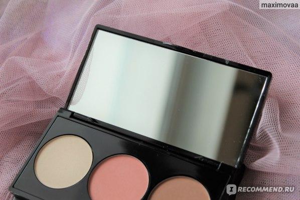 Палетка для макияжа лица KM cosmetics Трио компактных минеральных продуктов фото
