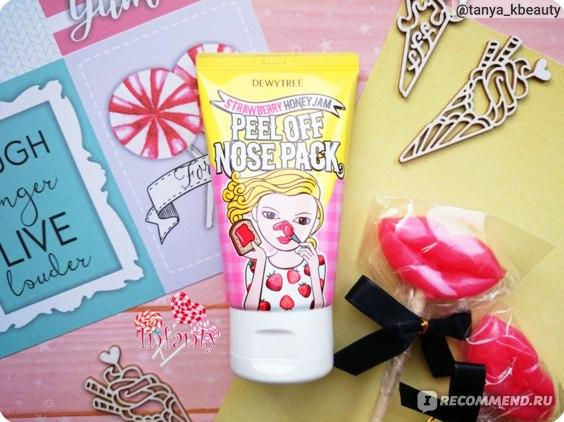 Маска-пленка для очищения пор Dewytree Peel Off Nose Pack Strawberry Honey Jam с ароматом медово-клубничного джема