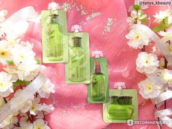 Тонер→Сыворотка→Лосьон→Крем Innisfree Green Tea Balansing