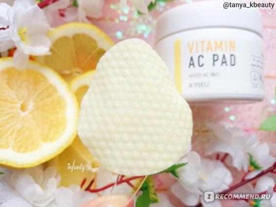 Пилинг-диски для лица A'PIEU VITAMIN AC PAD с АНА и ВНА-кислотами и 6 витаминами фото