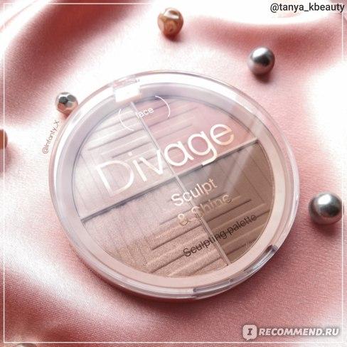 Палетка для макияжа лица DIVAGE Sculpt & Shine Sculpting  Palette 4 в 1 скульптурирующая (румяна, хайлайтер, скульптор) фото