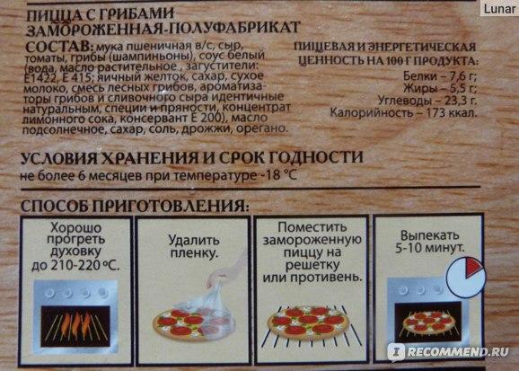 Состав пиццы Sonobello с грибами