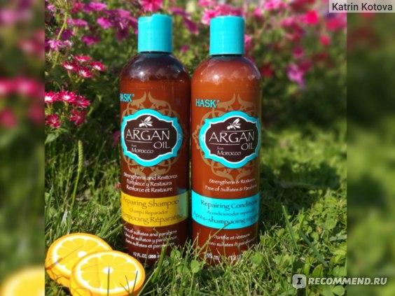 Шампунь Hask Argan Oil Repearing Shampoo для волос с маслом арганы для сухих и поврежденных кончиков волос фото