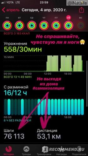 Часы-убийцы. Чтобы получить награду 400% от цели подвижности, мне пришлось пройти 53 км и 76.000 шагов!!! Моя ежедневная цель – 450 ккал. Нужно было сжечь 1800 ккал ЧИСТОЙ АКТИВНОСТЬЮ