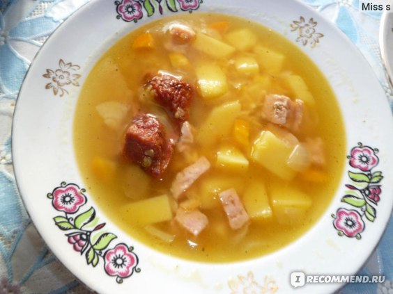 гороховый суп с копчеными  ребрами и ветчиной