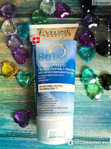 Гель для лица Eveline Глубоко очищающий гель + скраб + маска против несовершенств кожи 8 в 1 Facemed+