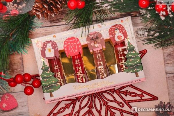 Набор ароматизированных жидких матовых помад в мини-формате Too Faced Christmas Snuggles & Melted Kisses Lipstick Collection Holiday 2020 фото