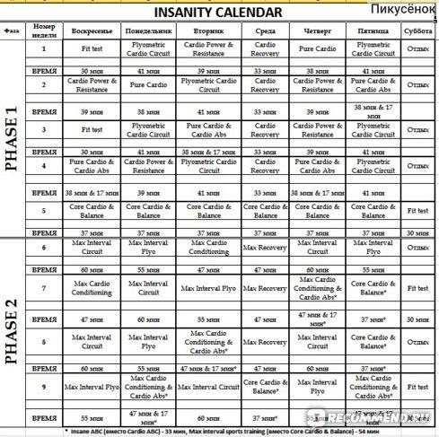 Мой календарь тренировок Insanity