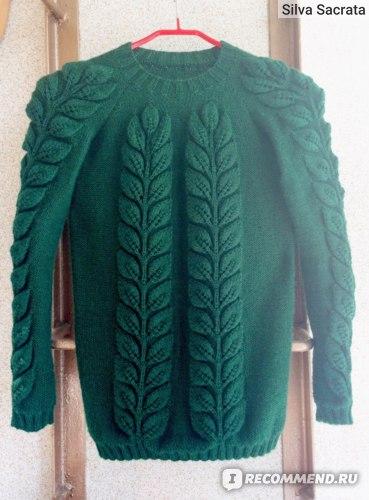 Пуловер с объемными листьями из слонимской пряжи 70/30.