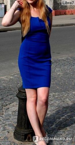 Платье AliExpress Autumn vintage brief patchwork short-sleeve slim hip plus size ol elegant fashion dress navy blue, фото