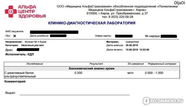 Анализ крови на СРБ