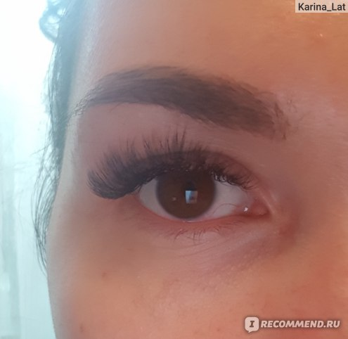 Сразу после наращивпния, глаза еще красноваты