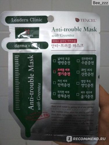 Тканевая маска для лица Leaders Clinic Derma Soul Anti-trouble Mask фото