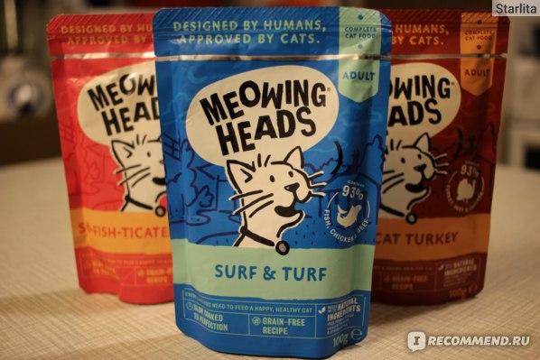 Корм для кошек Barking Heads пауч Surf & Turf с сардинами, тунцом, курицей и говядиной (Meowing Heads) фото