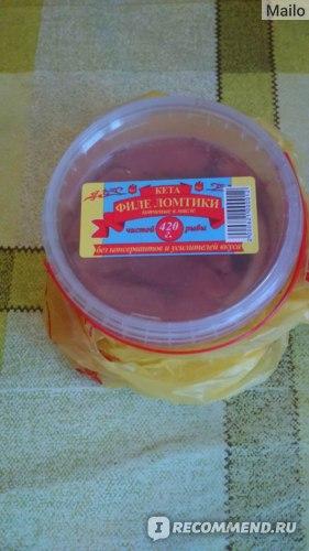 Кета Сахалин рыба Ломтики филе копченые в масле фото