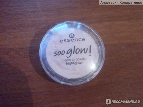 Пудра компактная Essence Soo glow! кремовая cream to powder highlighter с мерцанием (хайлайтер) фото