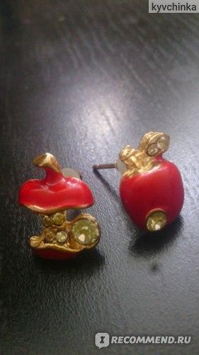 Серьги Aliexpress Red Apple Stud Earrings Rhinestone Earrings Gold BEST GIFT(Red) E3 фото