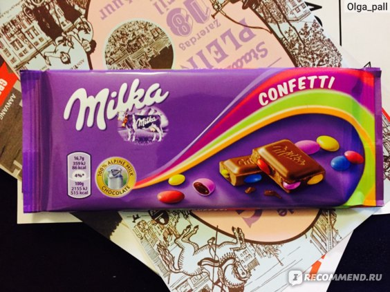 Шоколад Milka Confetti фото