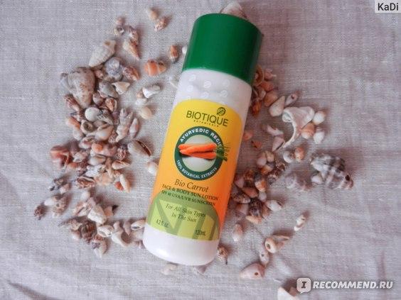 Лосьон для загара Biotique для защиты кожи лица и тела от воздействия солнца фото
